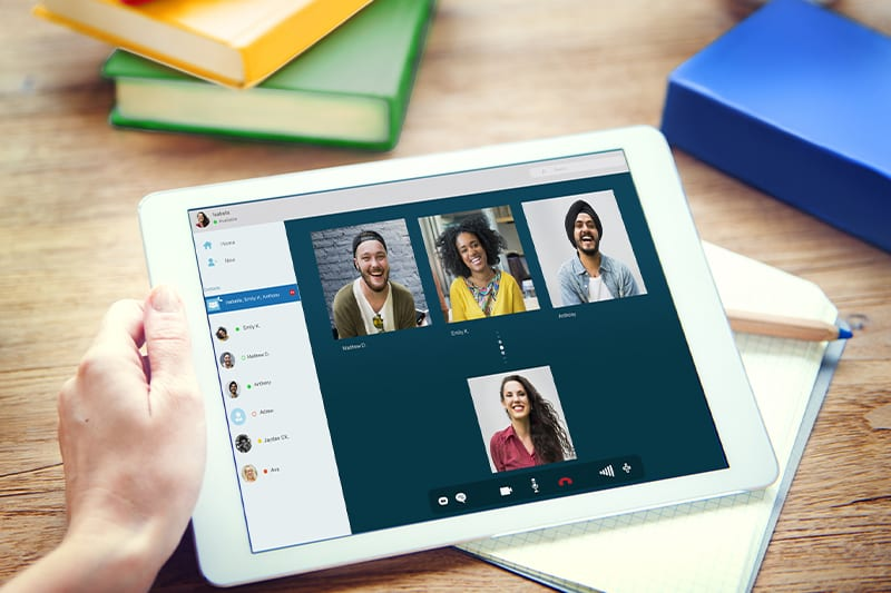 ipad with skype meeting